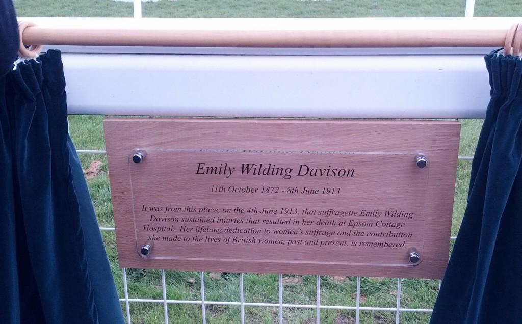 Epsom racecourse memorial plaque at Tattenham Corner