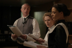 Still from TO FREEDOM'S CAUSE - Rada rehearsed reading, Prison Dr, Emily & Prison Wardress (Peter Salter, Kate Willoughby & Sabina Arthur) ; 2011